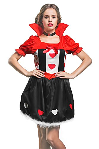 Alice Queen Of Hearts Costumes (Women's Alice in Wonderland Queen of Hearts Royal Dress Up & Role Play Halloween Costume (One Size))