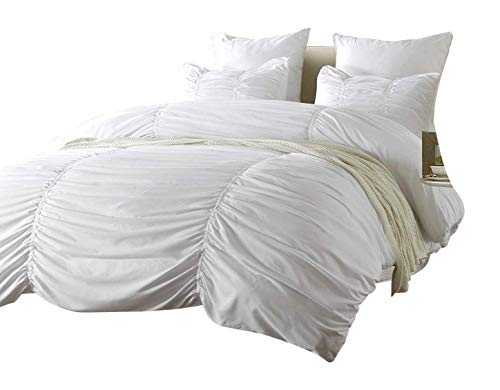 Web Linens Inc 3pc Ruched Design White Duvet Cover Set Style # 1005 - King/California King - Cherry Hill Collection