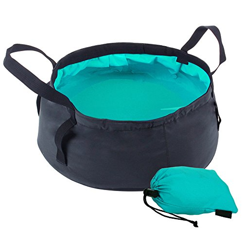 Comfysail 8.5L Portable Foldable Bucket Water Storage Container Collapsible Water Bowl Perfect For Car Washing Painting Fishing Wash Hands Footbath Basin-Pratical Storage Pouch (Water Blue)