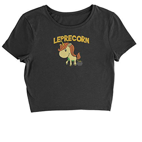 Expression Tees Leprecorn Unicorn Leprechaun Womens Cropped T-Shirt