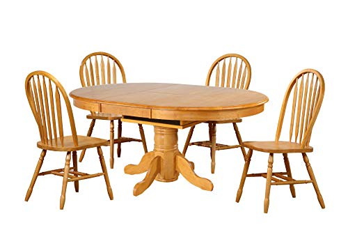 Sunset Trading 5 Piece Pedestal Dining Set with Arrowback Chairs