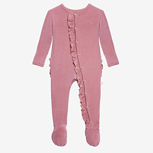 Posh Peanut One Piece Elegant Baby Romper Buttery Soft & Breathable Viscose from Bamboo - Premium Knit Baby Girl Clothes (Dusty Rose, 6-9 Months)