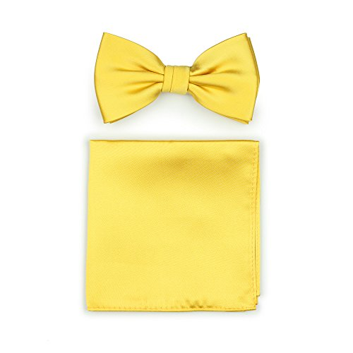 Bows-N-Ties Men's Solid Adjustable Pre-Tied Bow Tie and Pocket Square Set (Sun Yellow) (Yellow Silk Bow Tie)