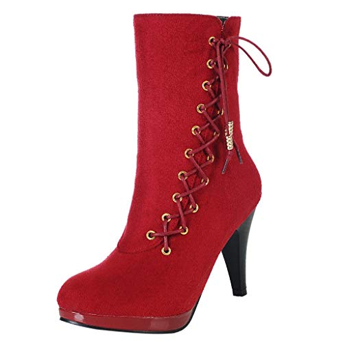 (Sunmoot Lace Up Ankle Boots for Women Rome High Heel Party Night Club Suede Booties)