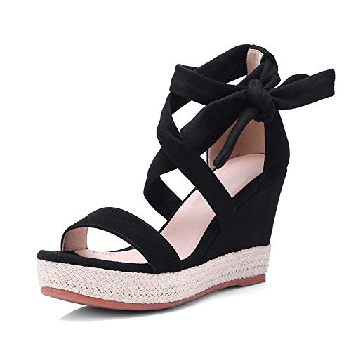 Eu 36 Cuña Peep Verano color Impermeable toe Tacones Black9cm Paja 9cm Con Zapatos Sandalias Tamaño Negros Hhgold De Cordones Plataforma Black9cm xUHqXvP
