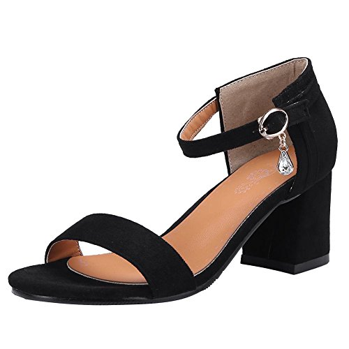 Mee Shoes Women's Fashion Mid Block Heel Buckle Sandals Black GQ5btZA1