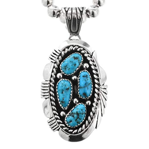Turquoise Cluster Silver Navajo Pendant Sterling Design With Bead Necklace 0147 ()