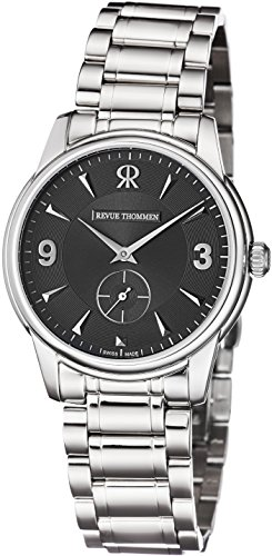 Revue Thommen Watch Mens Slimline Stainless Steel Black Dial Thin Swiss Mechanical Watch 15005.3137