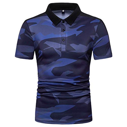 Men's Fashion Short Sleeve Top TANGSen Spring Summer Camouflage Print Large Size Casual Polo Tops Blouse from TANGSen_Mens