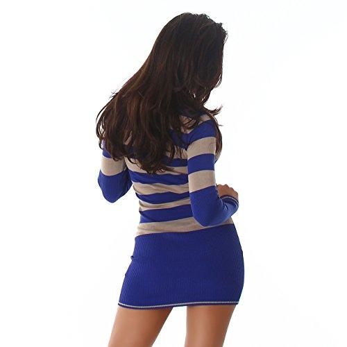 Jela London Damen Strickkleid, Longpulli oder Pullover im Streifen Look mit V-Ausschnitt, Feinstrickkleid Blau