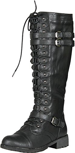 (Wild Diva Timberly-65 Women's Fashion Lace Up Buckle Knee High Combat Boots, Color:Black,)