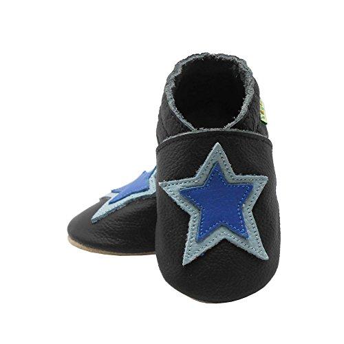 Sayoyo Suaves Zapatos De Cuero Del Bebé Zapatillas estrella Negro