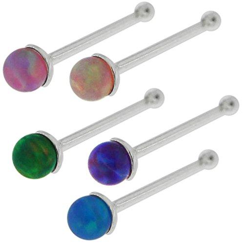 20 pièces coffret de Mix couleur 2MM opale synthétique pierres Top boule avec 925 Sterling Silver 22 calibre fin nez à rotule