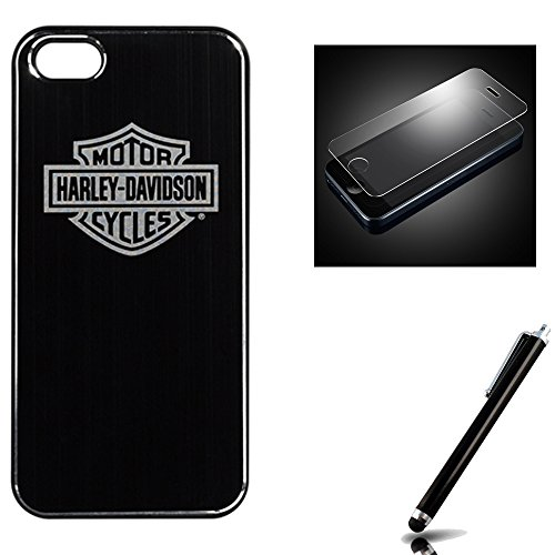 Harley Davidson iPhone 5s, iPhone 5 Hard Shell Metal Look Logo Cover with Tempered Glass Screen Protector.