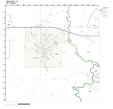 Amazoncom ZIP Code Wall Map of Jennings LA ZIP Code Map Not
