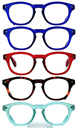 1ec6e9515bd7 Image Unavailable. Image not available for. Colour  5-Pack of Amazotti Bold Retro  Wayfarer Style Reading Glasses ...