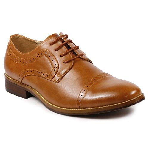 Metrocharm MC601 Men's Lace Up Cap Toe Perforated Classic Dress shoe (10.5, (Tan Mens Shoes)