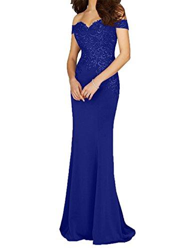 mit Royal Abendkleider La Promkleider Meerjungfrau mia Spitze Blau Brautmutterkleider Hochzeits 2018 Fuer Kurzarm Braut wvBqpC