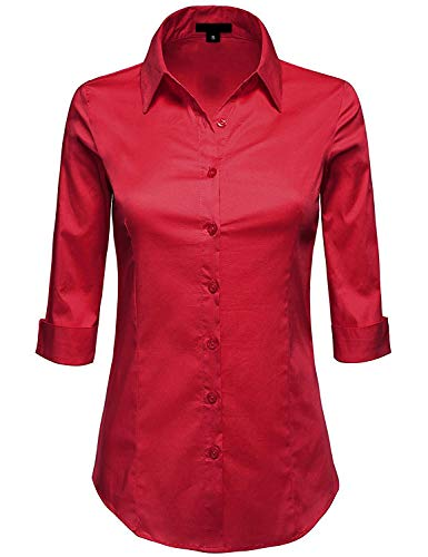 MAYSIX APPAREL Plus Size Womens 3/4 Sleeve Stretchy Button Down Collar Office Formal Shirt Blouse DarkRed 5XL (Plus Size 3 4 Sleeve Cotton Tops)