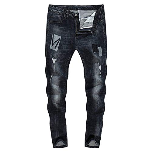 2018 3119 Dritta Uomo Battercake Zlh Jeans Da A Neri Stretch Strappati Comodo Gamba Thick Biker Pantaloni ZIUqwSI4