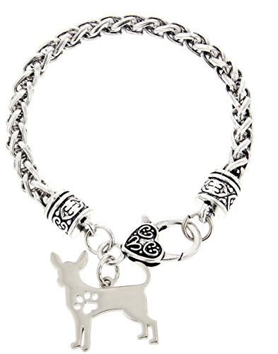 Best Chihuahua Mom Ever Chihuahua Bracelet Gift Silhouette Charm Bracelet Silver-Tone Bracelet Gift for Chihuahua Owner Jewelry Box