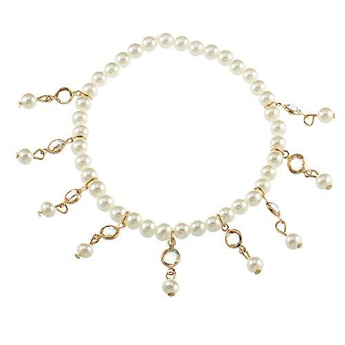 BulingVV 18K Gold Plated Boho Beach White Crystal Tassel Imitation Pearls Anklet Girls Stretch Ankle Bracelet ()