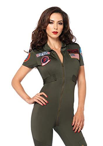 Leg Avenue Women's Top Gun Flight Suit Spandex Catsuit with Interchangeable Name Badges