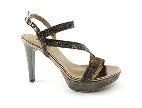 Femme Paillettes Giardini Talons Nero À Chaussures Élégante Cuivre Antracite 06070 Sandales YwTaIxq7