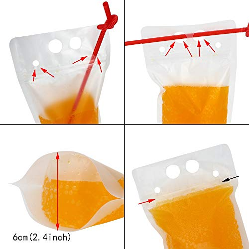 TOMNK 100pcs Clear Drink Pouches Bags Smoothie Bags Reclosable Zipper Heavy Duty Hand-held Translucent Stand-up Plastic Pouches Bags Drinking Bags 2.4'' Bottom Gusset with 100pcs Straws by TOMNK (Image #3)