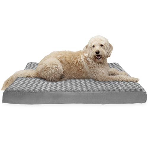 FurHaven Pet Dog Bed | Deluxe Cooling Gel Memory Foam Orthopedic Ultra Plush Mattress Pet Bed for Dogs & Cats, Gray, Jumbo