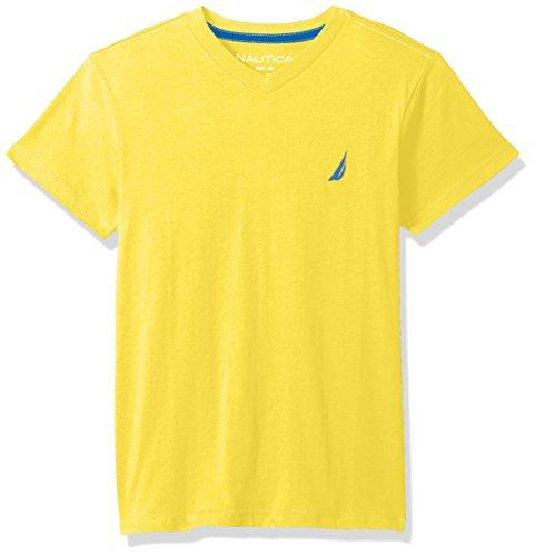 Nautica Big Boys' Short Sleeve Solid V-Neck Tee Shirt, Strait Firefly, Small (8)