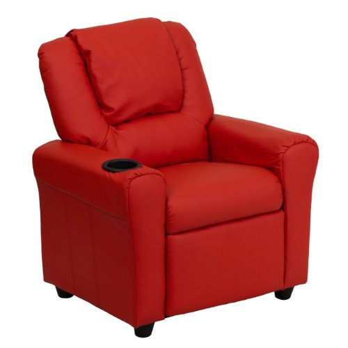 MFO Contemporary Red Vinyl Kids Recliner with Cup Holder and Headrest