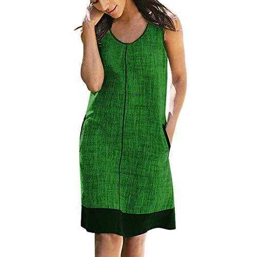 Women Summer Casual Loose Dress TANGSen Ladies Fashion Pockets Round Neck Sleeveless Leisure Beach Dress Green