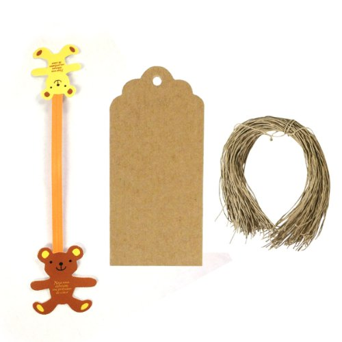Wrapables® Set of 50 Teddy Bear Twist Ties with 20 Scalloped Gift Tags/Kraft Hang Tags and Free Cut Strings for Baked Goods, Cake Pops, Party Favors, for Sealing Goody and Treat Bags, and Cello Bags