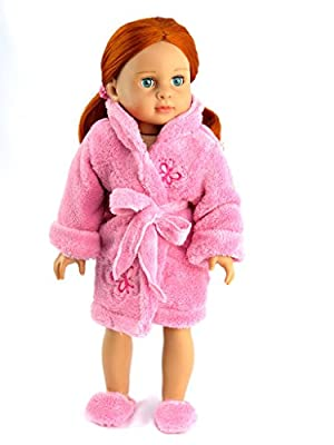 """Butterfly Bath Robe with Slippers - Fits 18"""" American Girl Dolls, Madame Alexander, Our Generation, etc. 