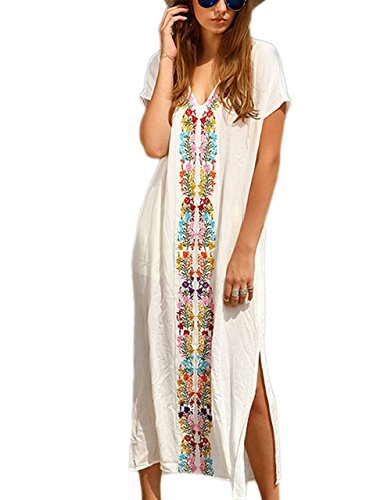 - Bsubseach Women White Embroidery Short Sleeve Swimsuit Cover Up Long Maxi Dress Kaftan
