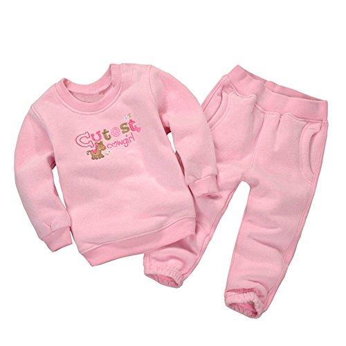 Mud Kingdom Baby Girls' Cartoon Fleece Outfits Sweatshirts and Pants Set 12M Cutest Cowgirl (Cartoon Cowgirl)