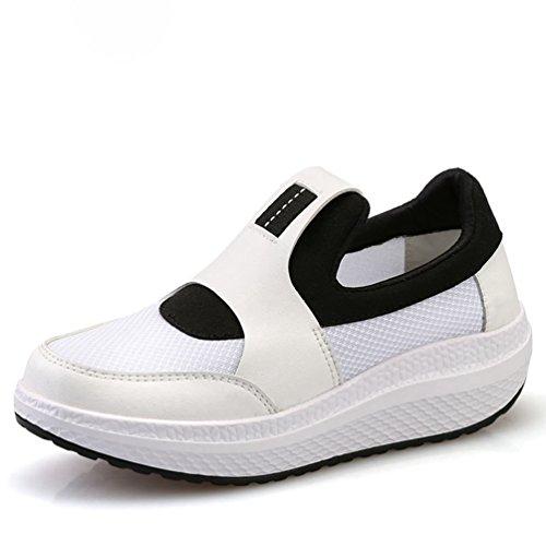JITIAN - Zapatillas de Running de Material Sintético Mujer Blanco