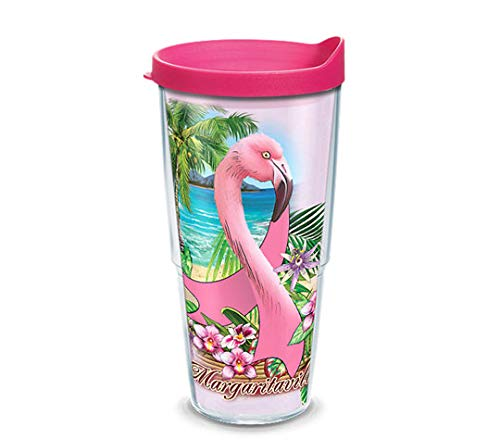 Breast Cancer Drinking Glass - Tervis 1313346 Margaritaville Flamingo Breast Cancer Awareness Insulated Tumbler with Wrap Lid, 24 oz, Clear