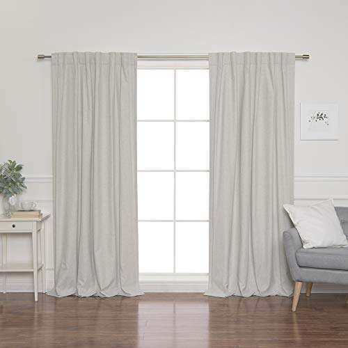 "Best Home Fashion SolbloQ Coated Linen Look Back Tab Blackout Curtains - 52"" W x 84"" L - Linen (Set of 2 Panels)"