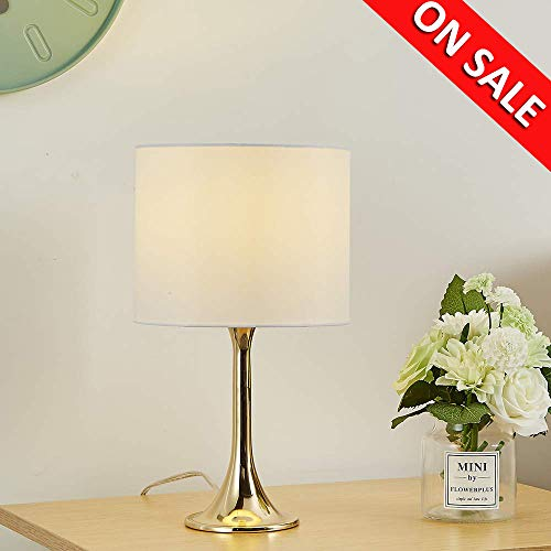 """Cheap Delica Home Gold Table Lamp, Simple Design table lamps with White Fabric Shade, 15.75"""" High"""