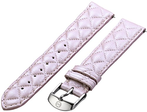 MICHELE MS18AA370748 18mm Leather Calfskin Pink Watch Strap by MICHELE