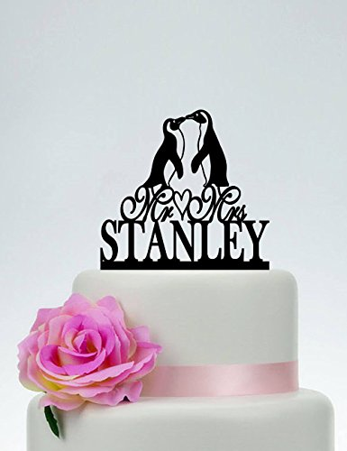 Penguin Mr And Mrs With Last Name Custom Personalized Animal Penguin Silhouette Funny Wedding Cake Topper Bride And Groom Present For Wedding Decortions Rustic Bridal Shower Gifts ()