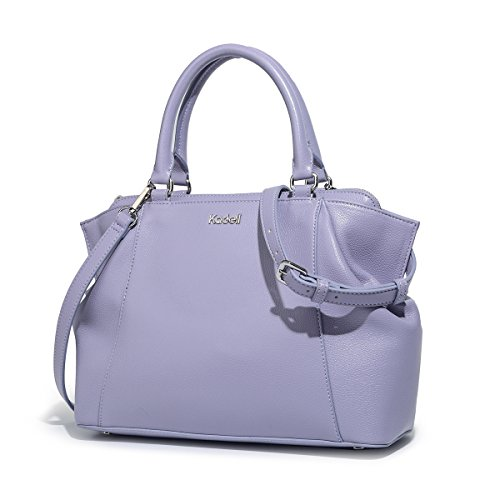 Kadell Womens Soft Leather Tote Hnadbag Shoulder Bag Medium Size Ladies Bags with Long Strap Black Light Purple