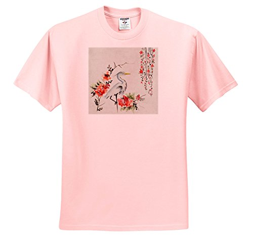 3dRose Sven Herkenrath Animal - Vintage and Retro Lilium Flower and Bird - T-Shirts - Adult Light-Pink-T-Shirt Small (Bird Womens Light T-shirt)
