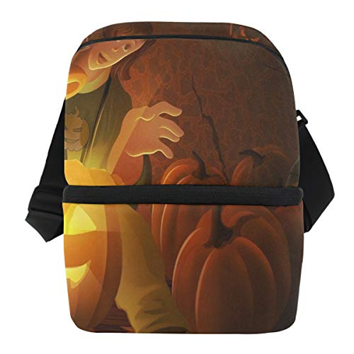Lovexue Lunch Bag Halloween Cute Girl Portable Cooler Bag Womens Leakproof Refrigerator Box Zipper Tote Bags for Picnic -