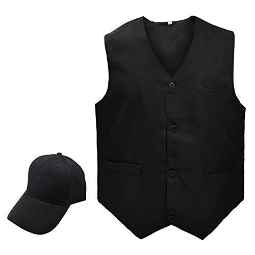 TOPTIE Restaurant Formal Dress Vest & Solid Color Cap Set, Clerk Uniform-Black-US 2XL