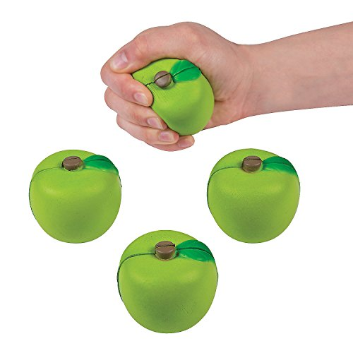 Fun Express - Green Apple Shaped Stress Toys - Toys - Balls - Relaxables - 12 Pieces ()