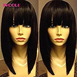 iVogue Short Human Hair Bob Wig with Full Bangs Malaysia Virgin Hair Silky Straight Machine Made Open Weft Wig for Women (8inch)
