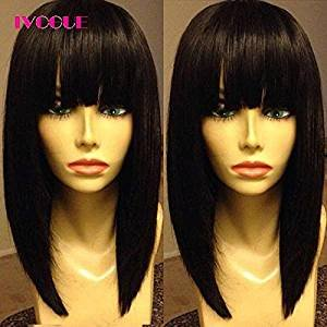 Price comparison product image iVogue Short Human Hair Bob Wig with Full Bangs Malaysia Virgin Hair Silky Straight Machine Made Open Weft Wig for Women (8inch)